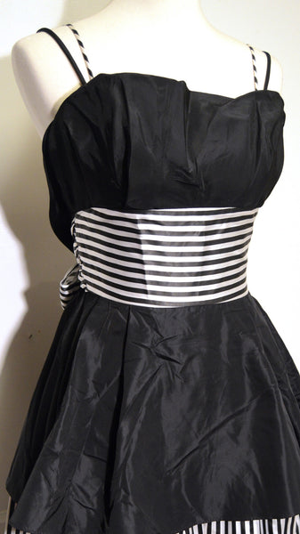 Gunne Saks 1980s Black and White Striped Formal Dress