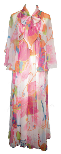 Mignon 1960s Psychedelic Print Silk Chiffon Dress and Cape