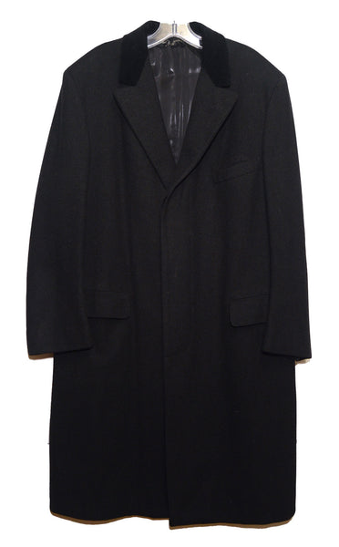 Brooks Brothers 1980s Custom Made Black Wool Mens Coat