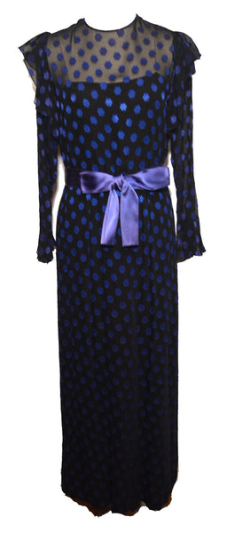 Christian Dior 1940s Black and Blue Polka Dot Dress