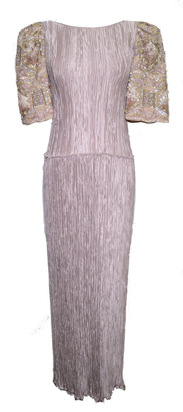 Mary McFadden Couture 1980s Lavender Pleated Silk Sequin Sleeve Dress
