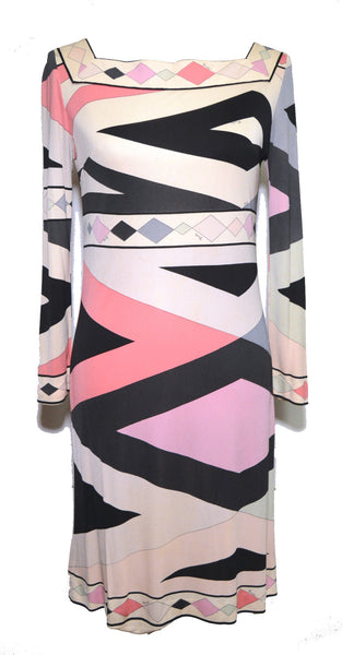 Pucci 1960s Geometric Print Black and Pink Multicolor Dress
