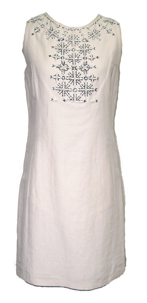 Emilio Pucci 1990s White Beaded Linen Shift Dress