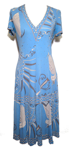 Pucci 1960s Blue Print Silk Dress