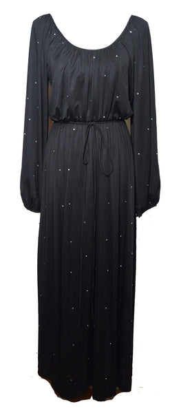 Donald Brooks 1970s Black Polyester Rhinestone Disco Dress Size 12