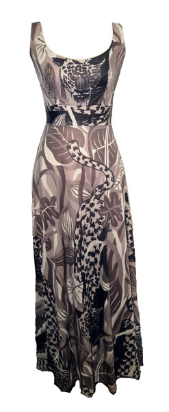 Futura Couture Abstract Leopard Print Maxi Dress Size Small