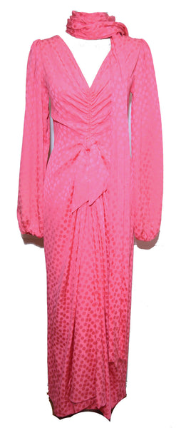 Eric Y Juan 1980s Pink Silk Polka Dot Ruched Dress