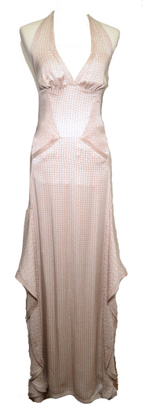 Missoni NWT Taupe Silk Print Halter Bias Cut Maxi Dress