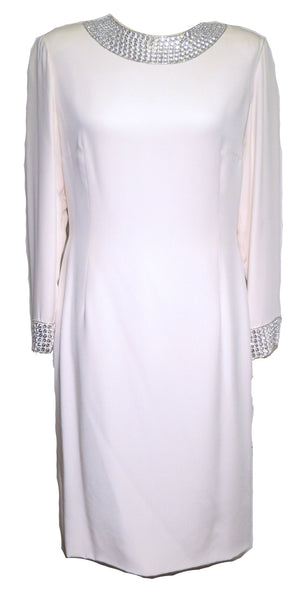 Pamela Dennis 1980s White Silk Rhinestone Collar Dress