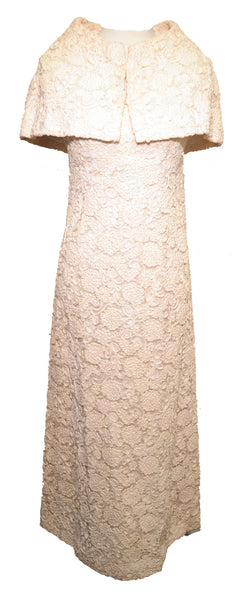 Maria Wohl 1960s Ivory Embroidered Floral Lace Dress and Capelet