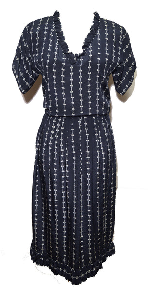 Givenchy 1970s Navy Blue Silk Print Skirt Set