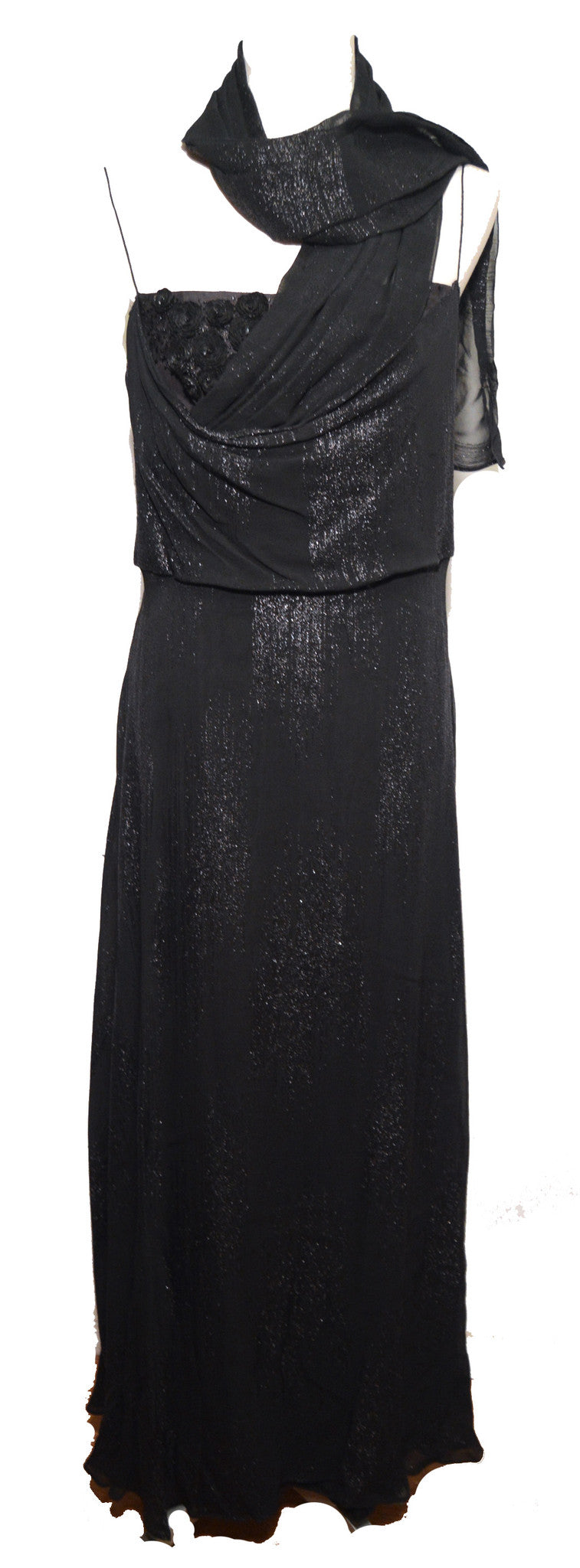 Balmain 1990s Black Embellished Evening Gown with Scarf Dress Balmain Philadelphia Vintage and Textiles - 1