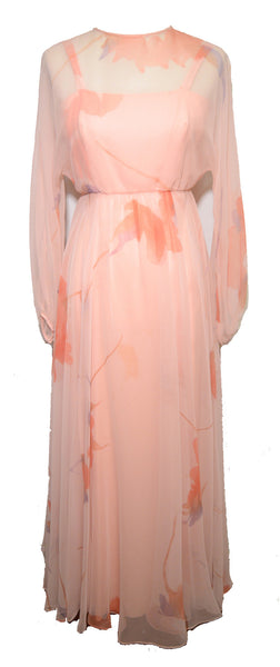 Dan Lee for Helen Siki 1970s Peach Silk Chiffon Overlay Dress