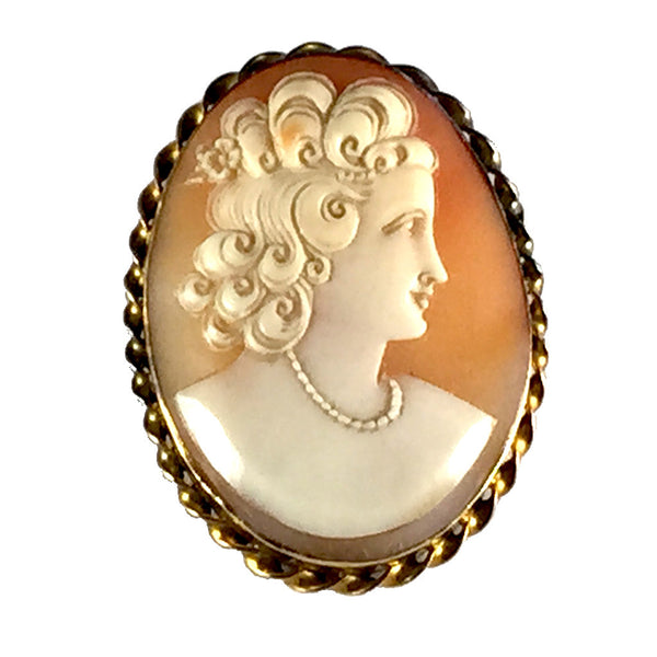 Victorian Fashion Girl Shell Cameo 9CT Yellow Gold Brooch Pin