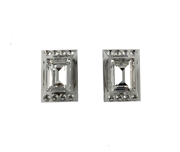 Dior 1980's Lucite and Faceted Crystal Clip On Earrings