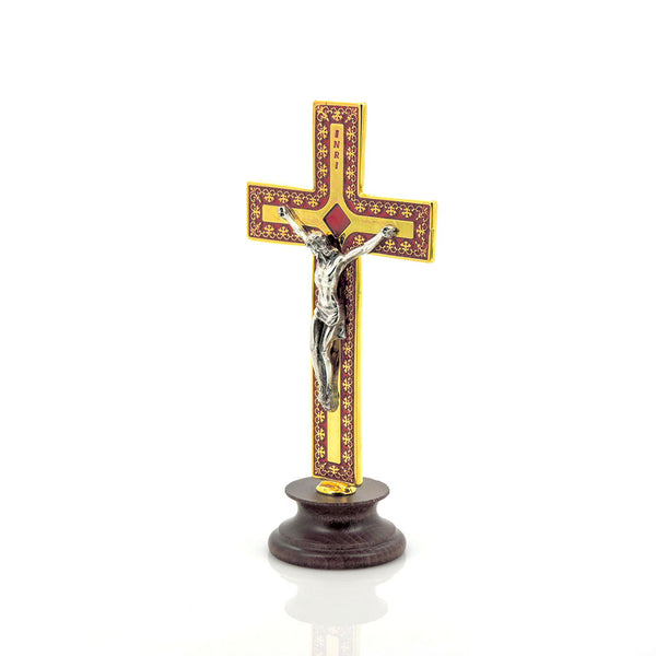 Cruz de Metal  - Base de Madera - Color Dorado