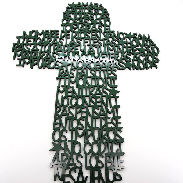 Cruz de Pared - Oración: 10 Mandamientos - Color Verde Brillante