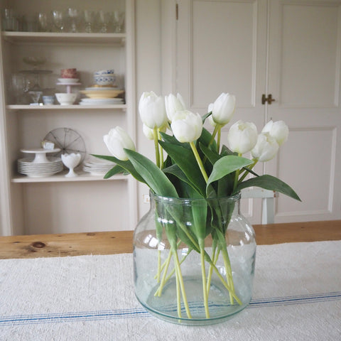 White Faux Tulip Stems