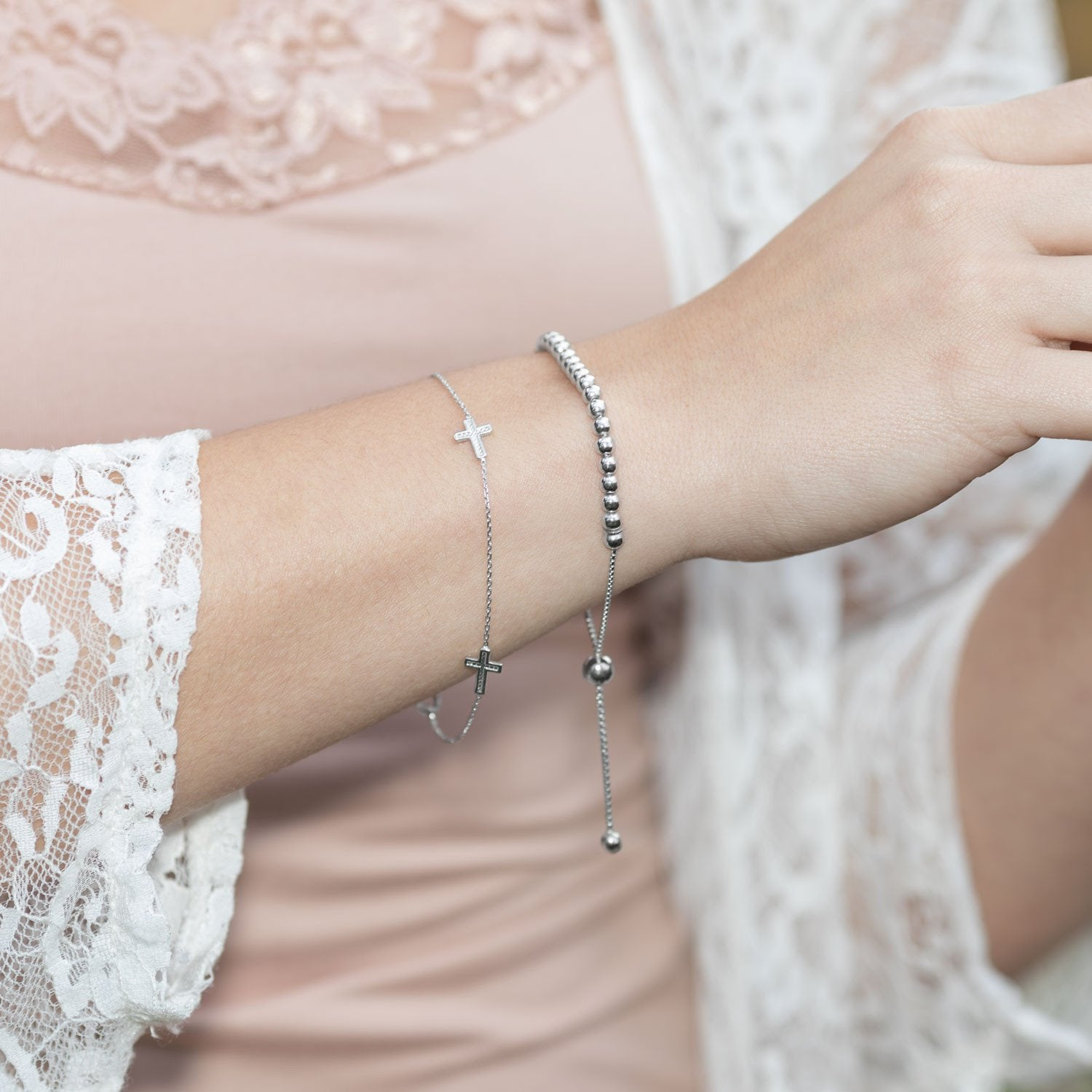 Rhodium Plated Chain and Cross Bracelet
