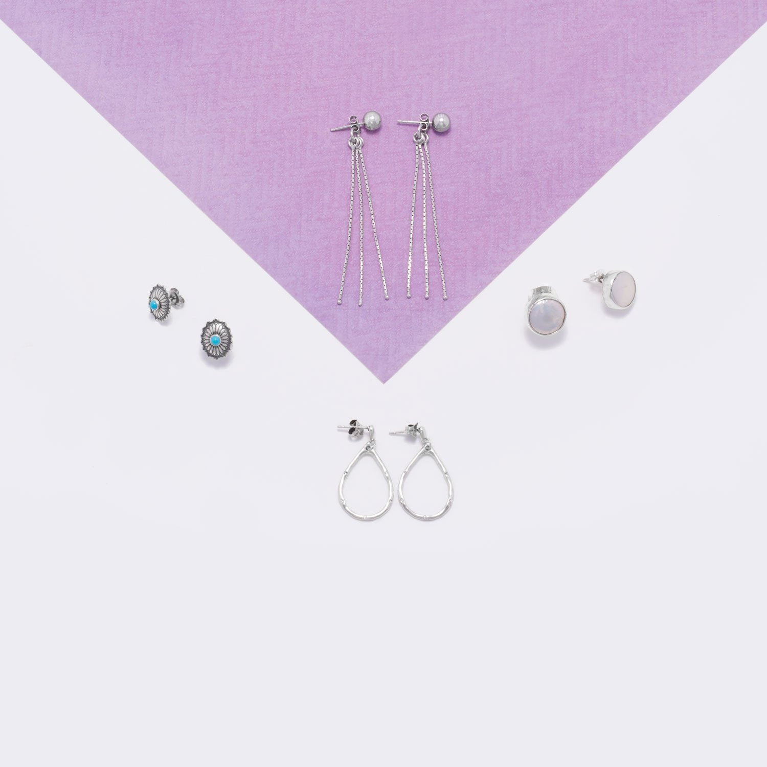 Rhodium Plated Bead Stud Earrings with Hanging Chain Backs