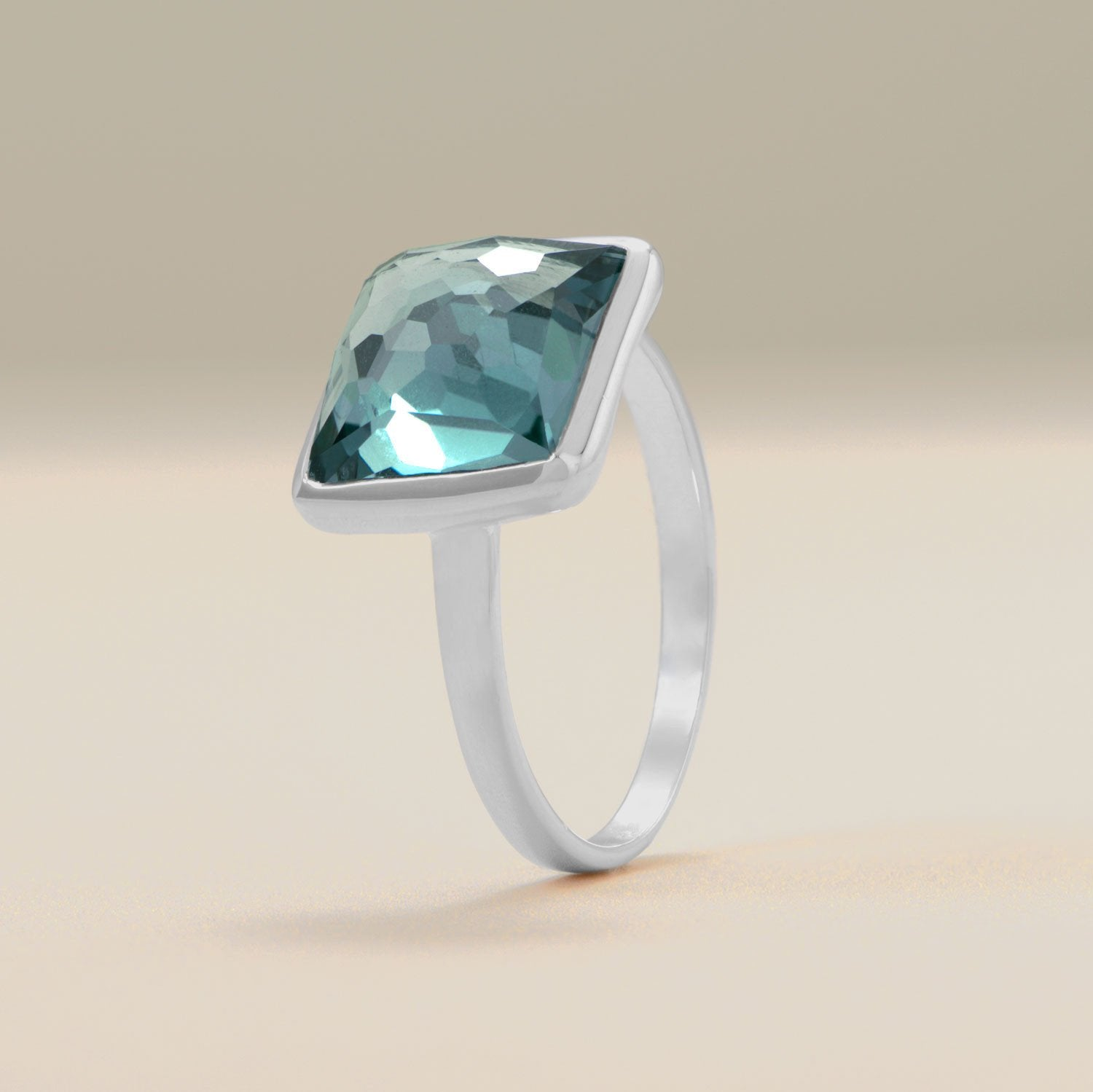 Large Square Freeform Faceted Hydro Quartz Stackable Ring