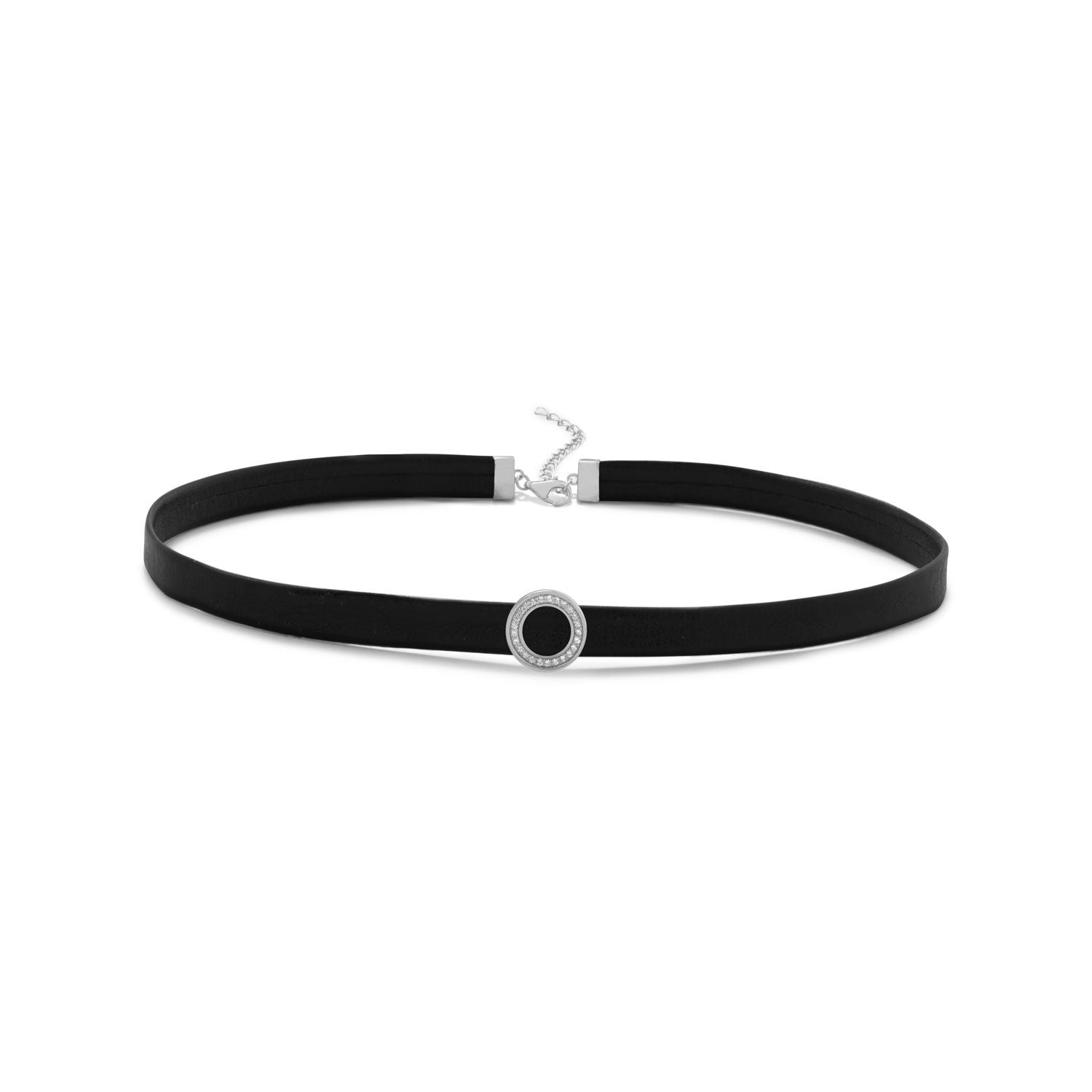 Rhodium Plated CZ Circle Black Leather Choker Necklace