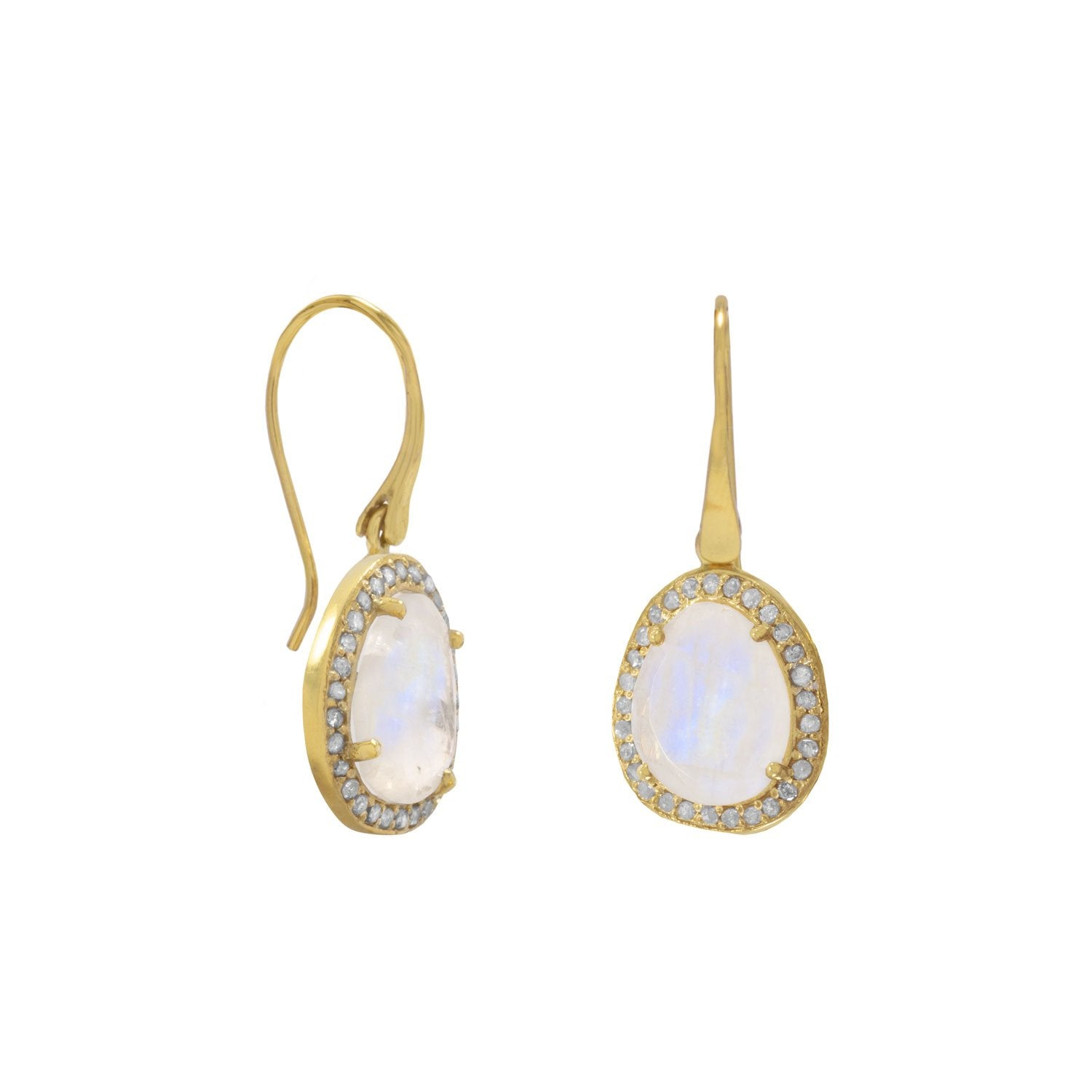 14 Karat Gold Plated Rainbow Moonstone & Gray Diamond French Wire Earrings