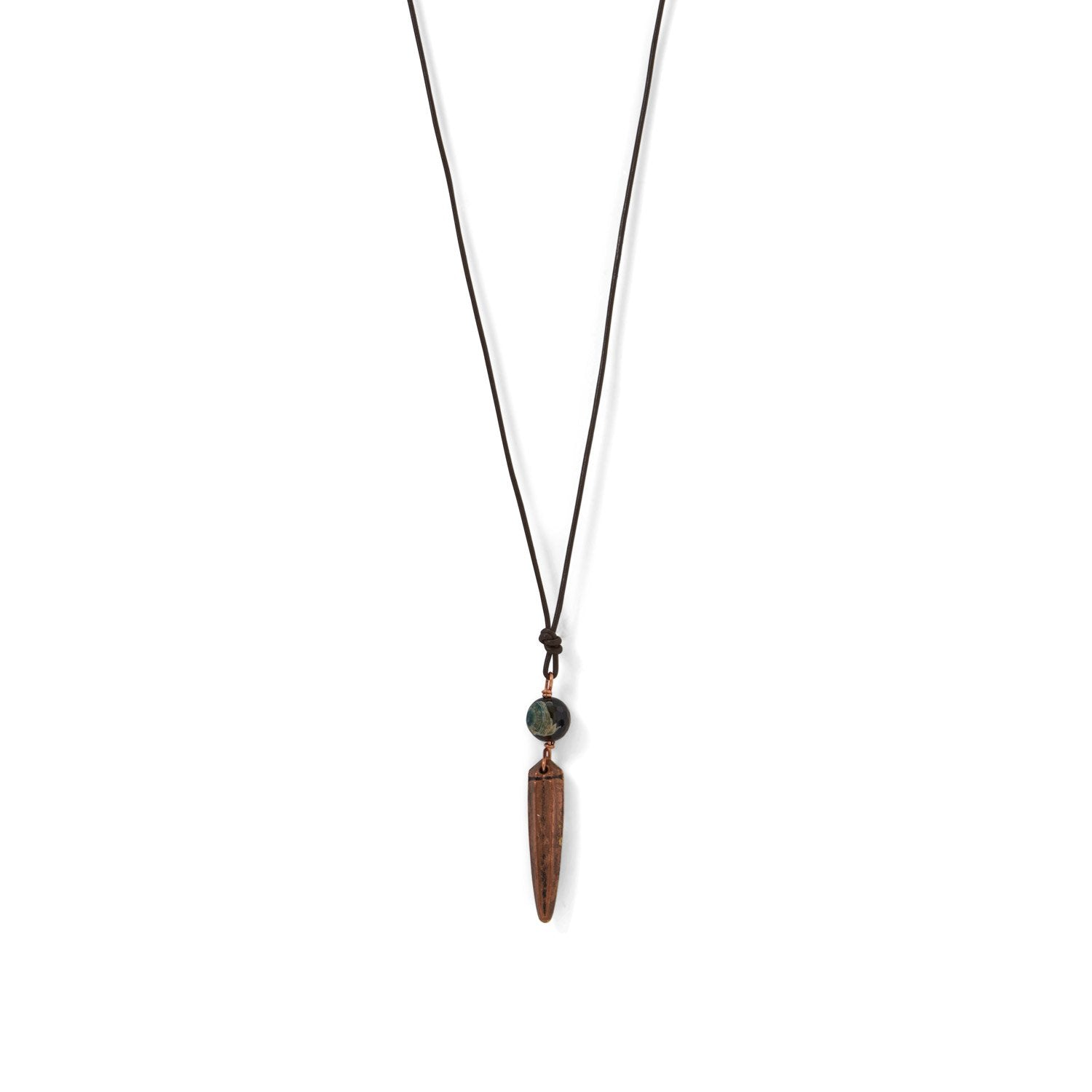 Adjustable Brown Leather Cord Necklace with Copper Spike