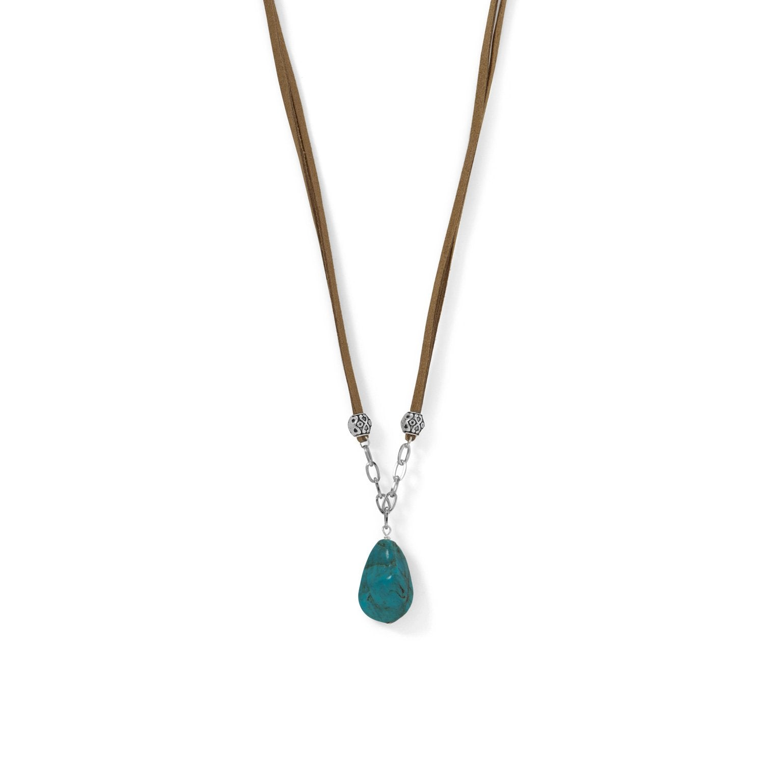 Silver Tone and Brown Suede Turquoise Nugget Necklace