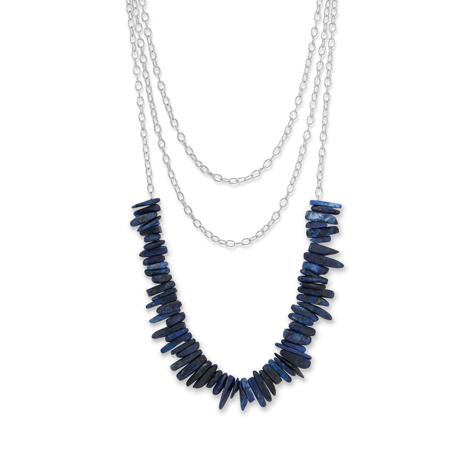 3 Strand Silver Tone Lapis Spike Necklace
