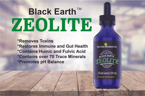 Black Earth Zeolite with Humic Fulvic Acids, Trace Minerals for Body Detox, Gut Health, Immune Support - 2oz Liquid Drops Supplement