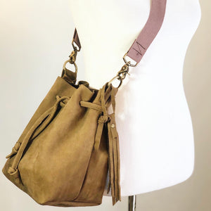 Brown Suede Bucket Bag