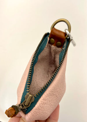 Pale Pink Mini/Teal Zipper