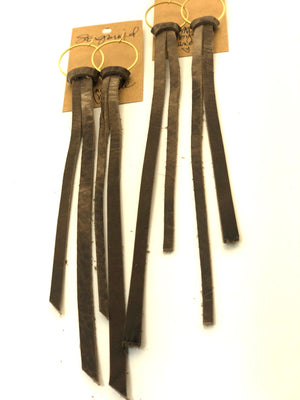 Gray Kodiak Long-ish Tassel Leather Earrings