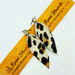 Printed Cowhide Leather Earrings - Cheetah