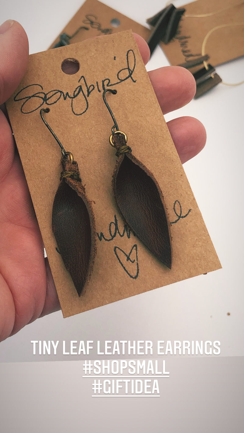 Tiny Leaf Leather Earrings