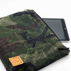 Camo Waxed Canvas Pouch - Large