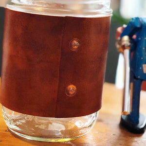 Leather/Ball Jar Travel Mug