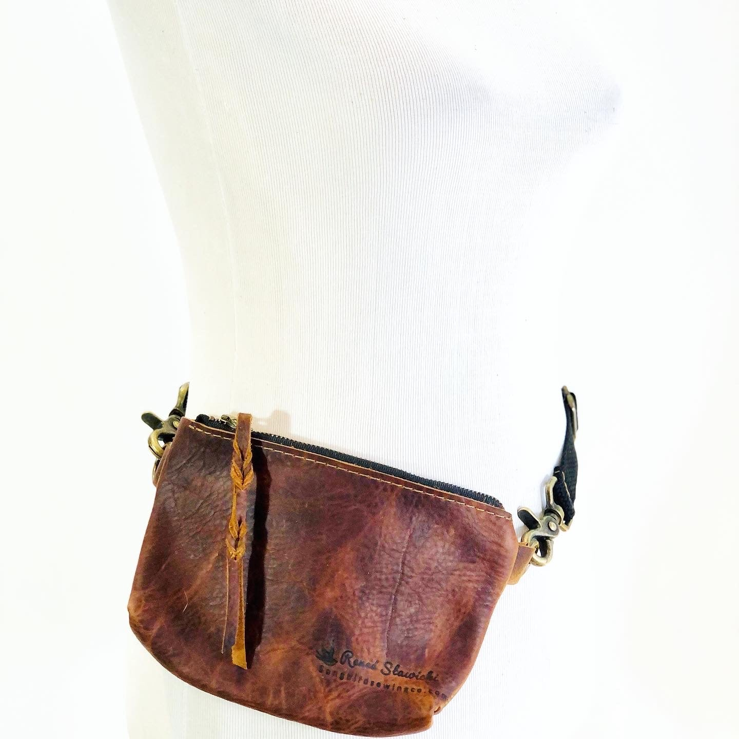 Leather Hip Bag, braided pull