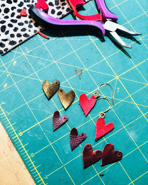Tiny Leather Heart Earrings