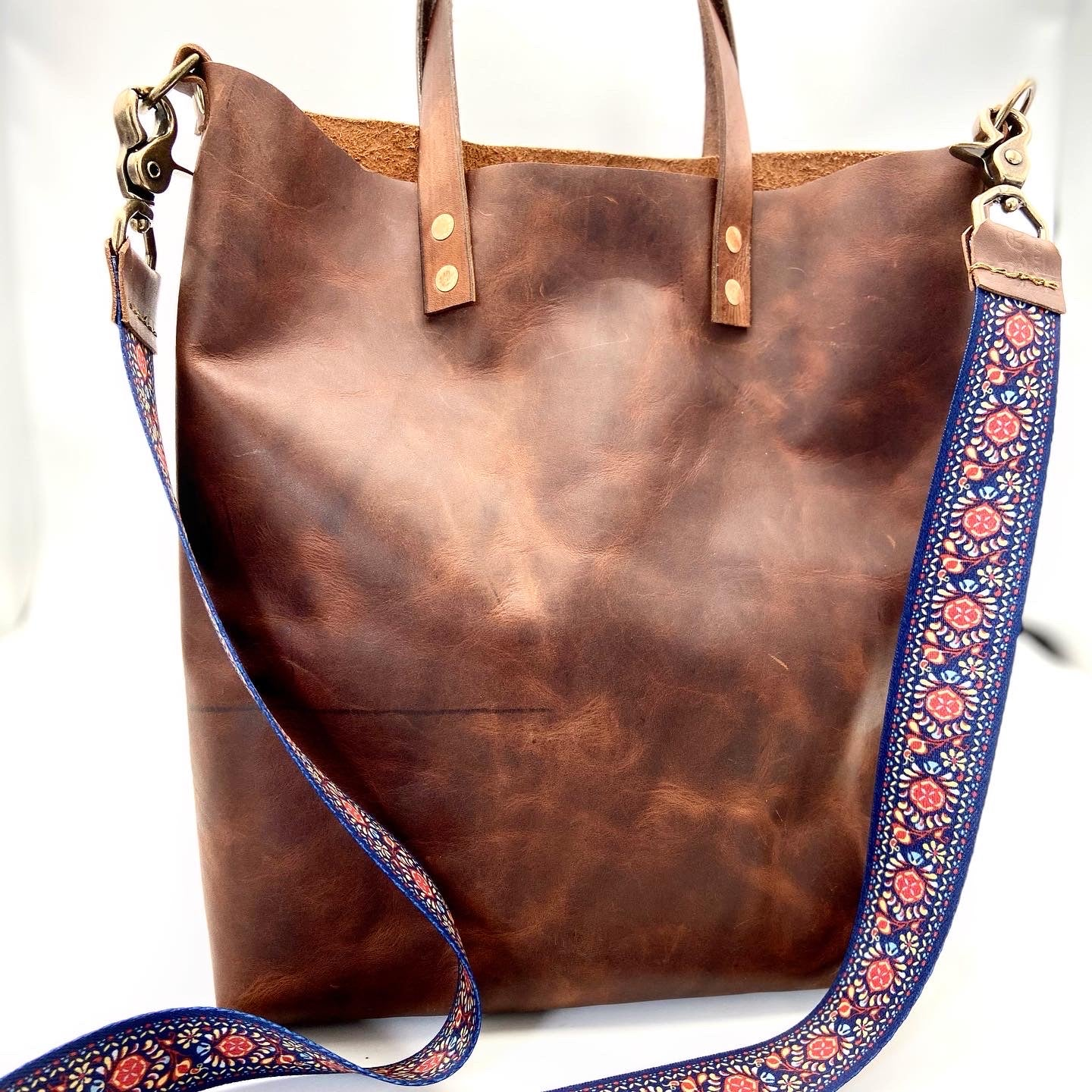 Brown Leather City Tote - Blue/Red Strap
