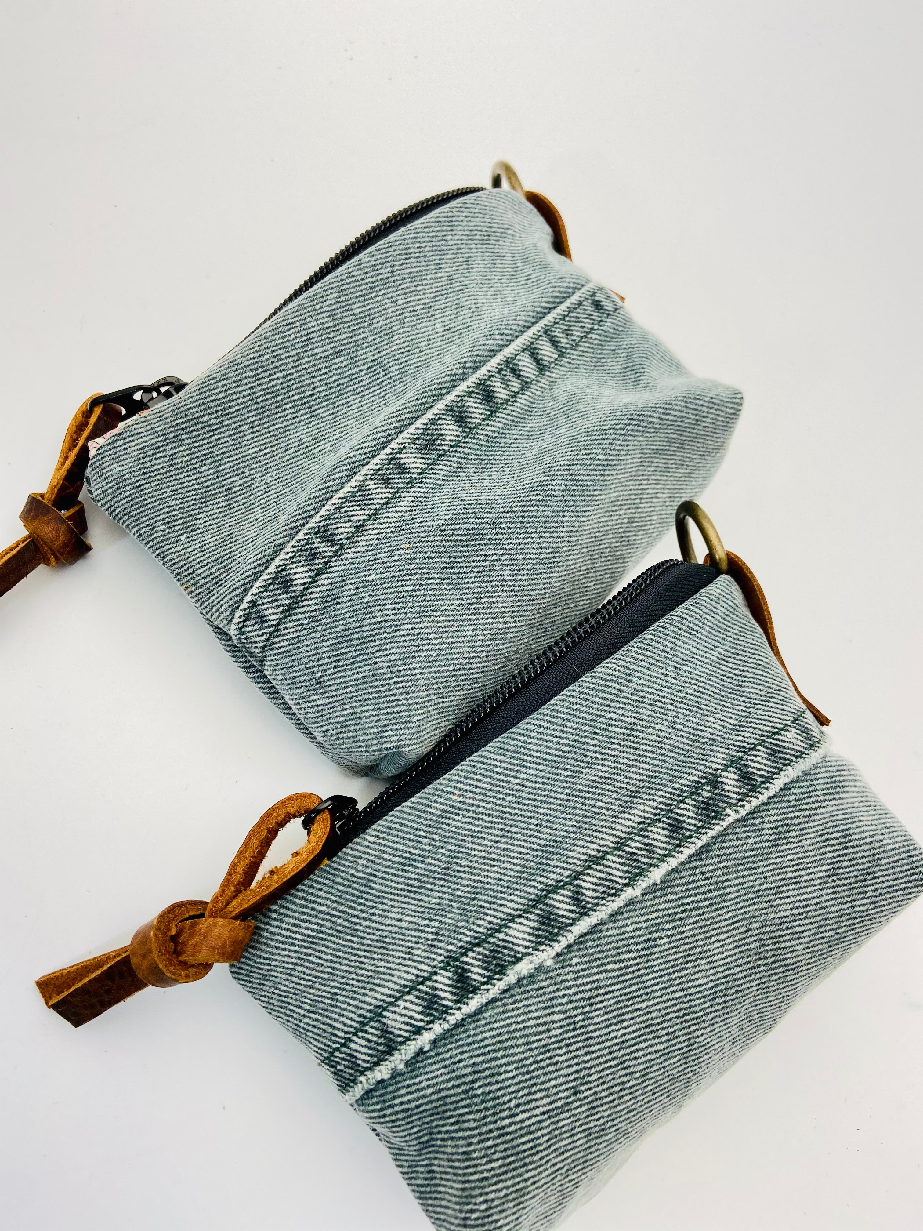 Upcycled Gray Denim Zip Pouch