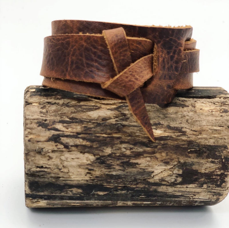 Kodiak Brown Leather Wrap Bracelet- Unisex