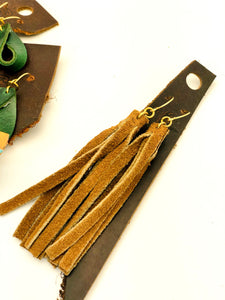 Repurposed suede tassel earrings