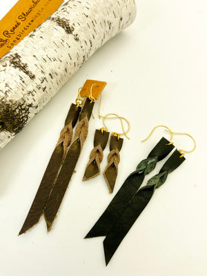 Single Braid Leather Earrings