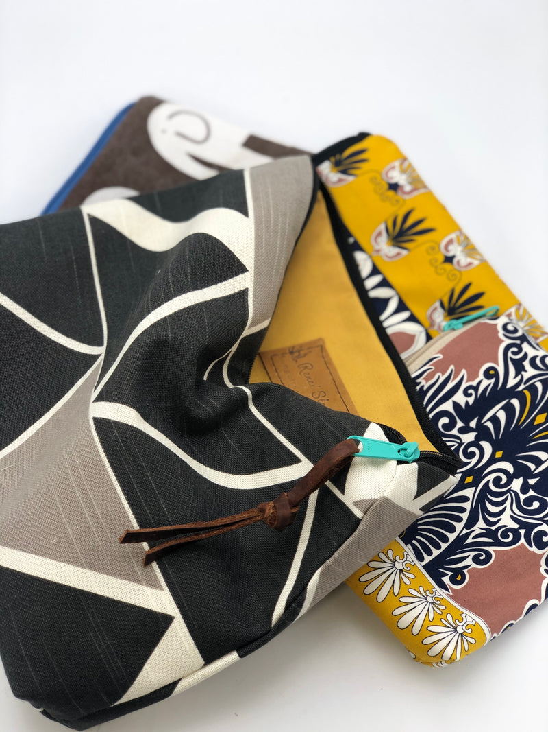 Large Canvas Pouch /Clutch Geometric Print