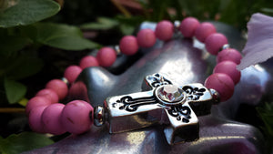 Antique Cross ( Candyfloss) Bracelet - Whitehot Jewellery - 2