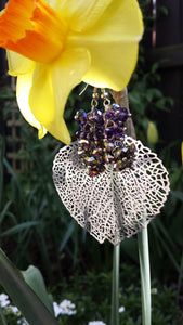 Silver Leaf & Crystal Earrings - Whitehot Jewellery - 3