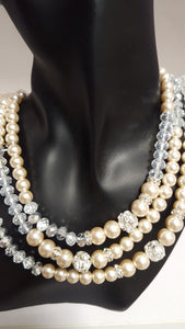 3 Strand Pearl & Crystal Necklace - Whitehot Jewellery - 1