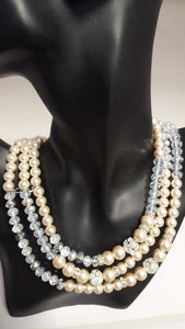 3 Strand Pearl & Crystal Necklace - Whitehot Jewellery - 2